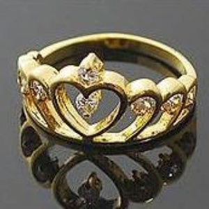 Queen's Crown Ring - Gold Austrian Crystals